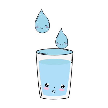 glass water kawaii character vector illustration design