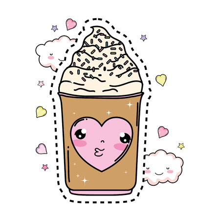 cute ice cream kawaii character vector illustration design Vettoriali