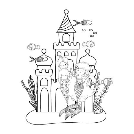 couple mermaids with castle undersea scene vector illustration design