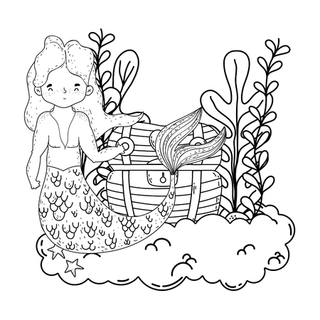 male mermaid with treasure chest undersea scene vector illustration