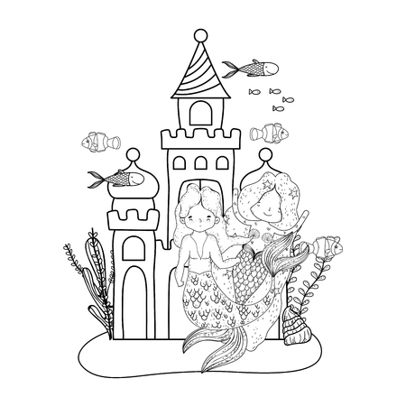couple mermaids with castle undersea scene vector illustration design