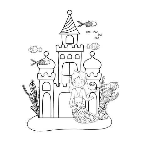 male mermaid with castle undersea scene vector illustration design