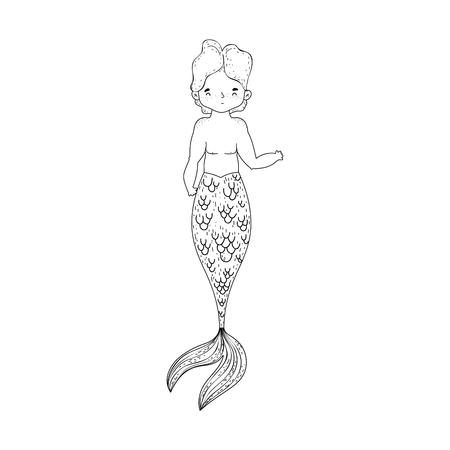 male mermaid fairytale character vector illustration design