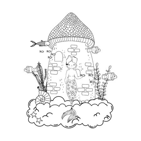 male mermaid with castle undersea scene vector illustration design