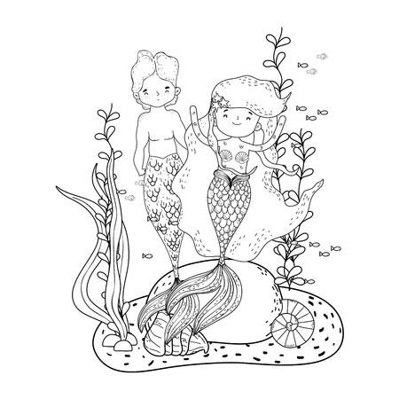 couple mermaids undersea scene