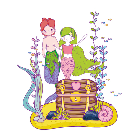 couple mermaids with treasure chest undersea vector illustration design