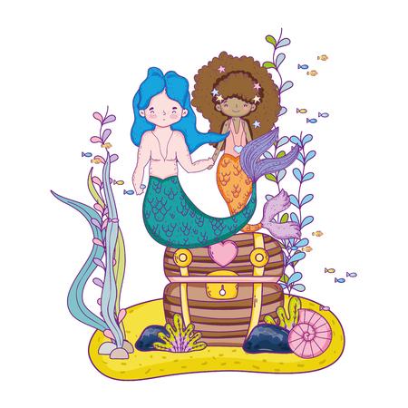 couple mermaids with treasure chest undersea vector illustration design