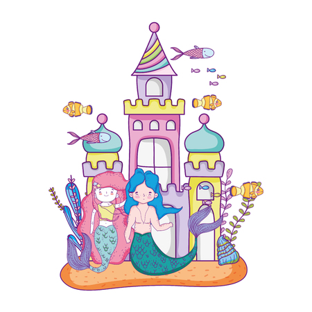 couple mermaids with castle undersea scene