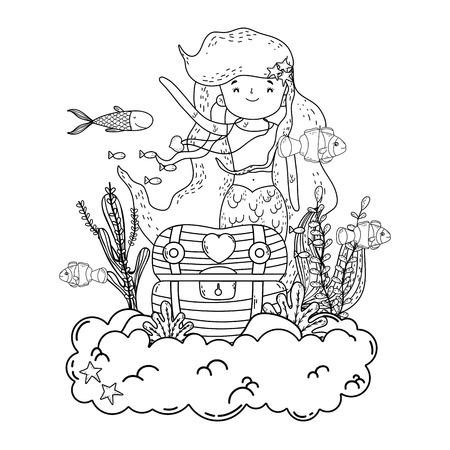 mermaid with treasure chest undersea scene vector illustration design