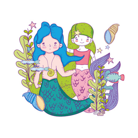 couple mermaids undersea scene