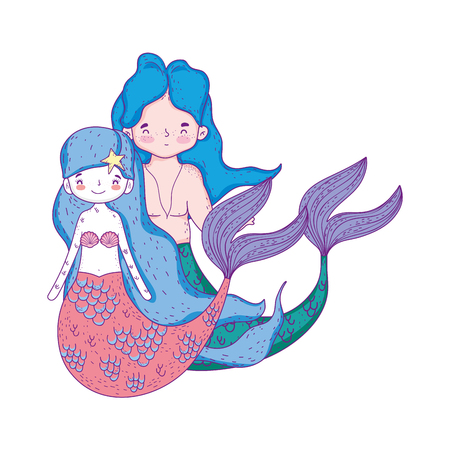 couple mermaids fairytale characters