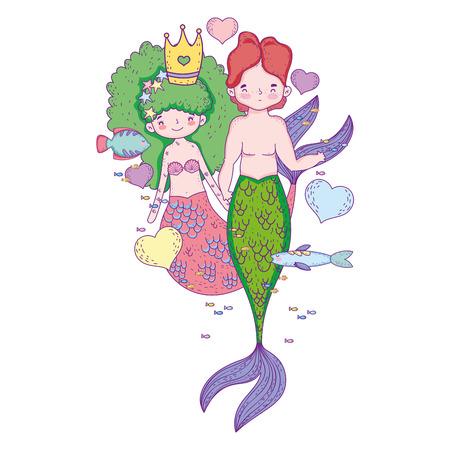 couple mermaids undersea scene Archivio Fotografico - 113144147