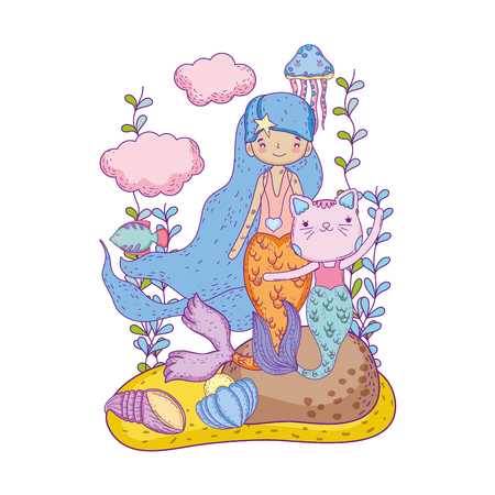 cute purrmaid and mermaid undersea scene vector illustration design 向量圖像