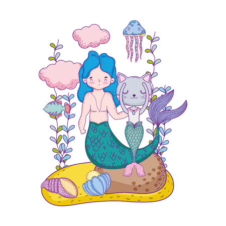 male mermaid and purrmaid underwater scene