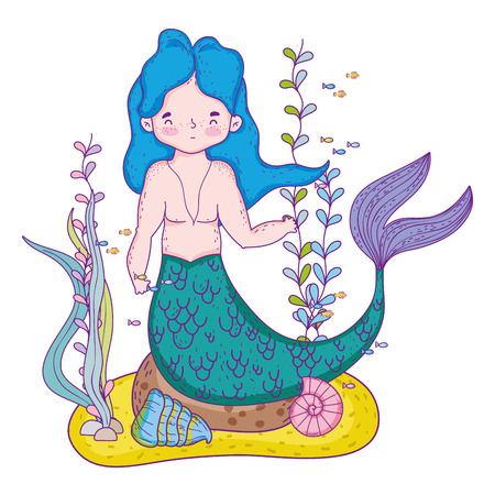 male mermaid undersea scene