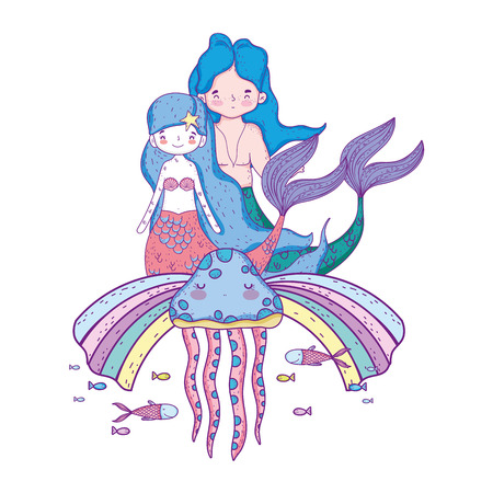 couple mermaids with rainbow undersea
