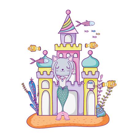 cute purrmaid with castle undersea Vetores