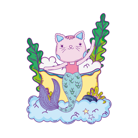 cute purrmaid in bathtub vector illustration design Ilustração
