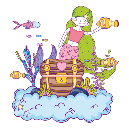 mermaid with treasure chest undersea scene vector illustration design