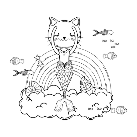 purrmaid with clouds and rainbow undersea vector illustration design