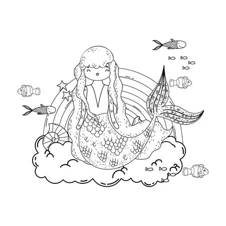 Sirène mignonne avec des nuages et conception d'illustration vectorielle arc-en-ciel Vecteurs