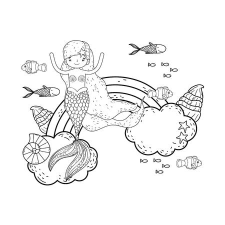 simpatica sirena con nuvole e illustrazione vettoriale arcobaleno design Vettoriali