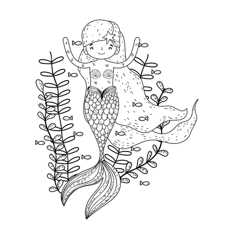cute mermaid under sea with seaweed vector illustration design Stock Illustratie