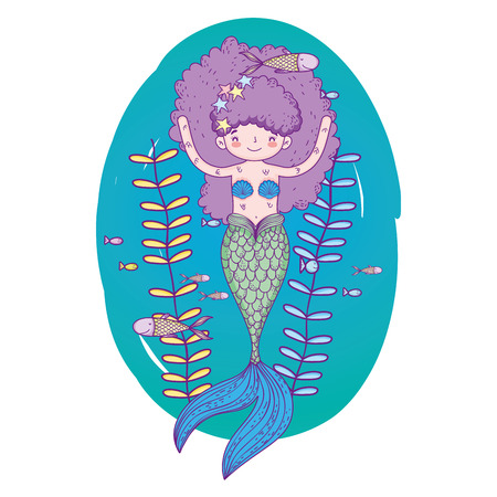 cute mermaid under sea with seaweed vector illustration design Illusztráció