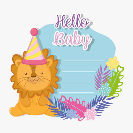 lion with party hat to baby shower celebration vector illustration  イラスト・ベクター素材