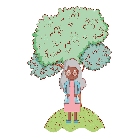 cute grandmother in front tree cartoon vector illustration graphic design
