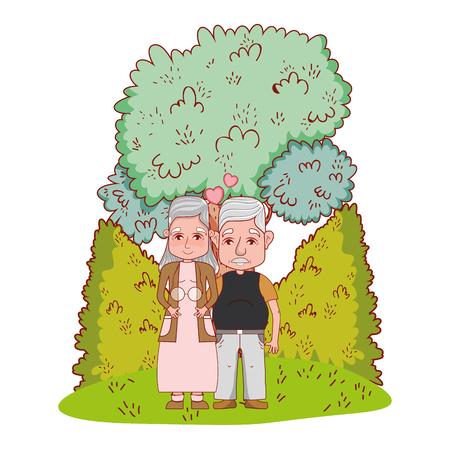 cute grandparents couple in the garden cartoon vector illustration graphic design