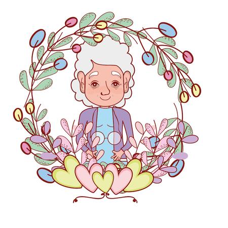 cute grandmother round icon cartoon vector illustration graphic design Illustration