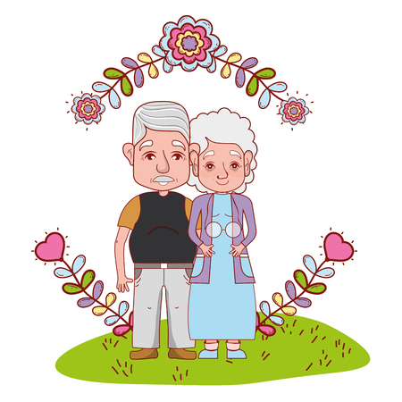 cute grandparents couple with flowers round icon cartoon vector illustration graphic design