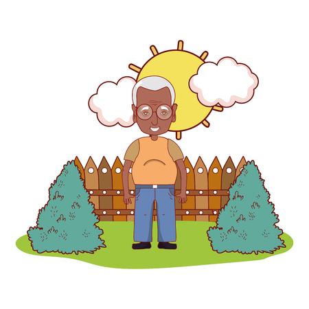 cute grandfather cartoon vector illustration graphic design