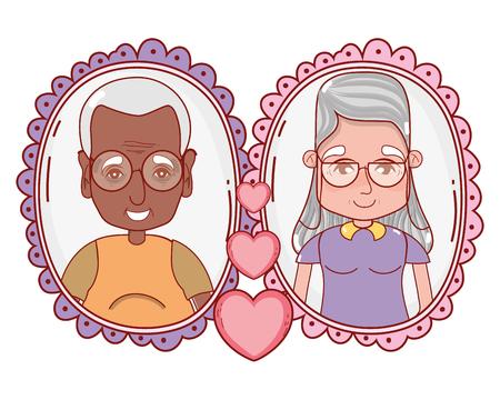 cute grandparents couple cartoon vector illustration graphic design
