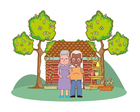 cute grandparents couple in the country house cartoon vector illustration graphic design Ilustração