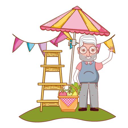 cute grandfather in front umbrella cartoon vector illustration graphic design