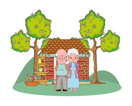 cute grandparents couple in the country house cartoon vector illustration graphic design Ilustracja