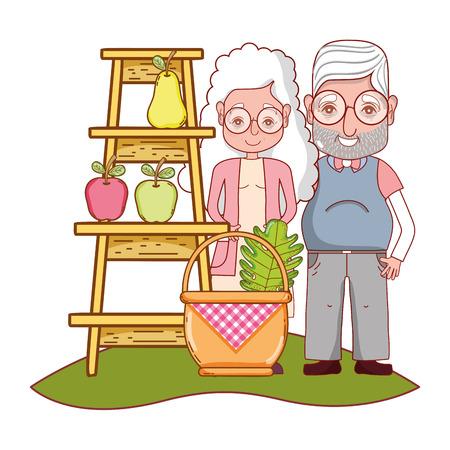 cute grandparents couple picking fruits cartoon vector illustration graphic design Illustration