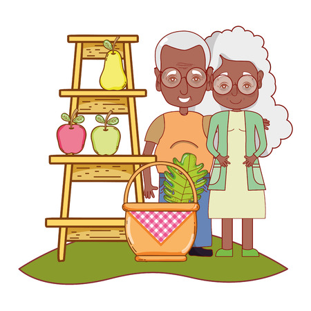 cute grandparents couple picking fruits cartoon vector illustration graphic design Vektoros illusztráció