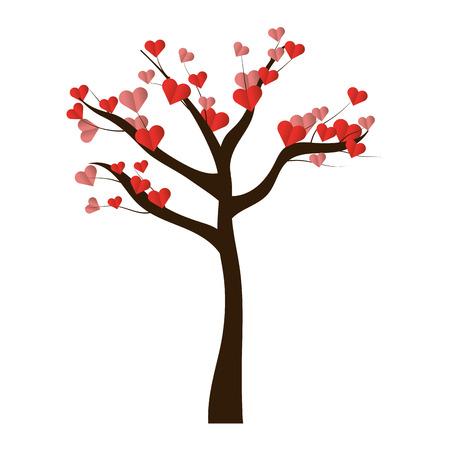valentines day heart tree cartoon vector illustration graphic design Ilustrace