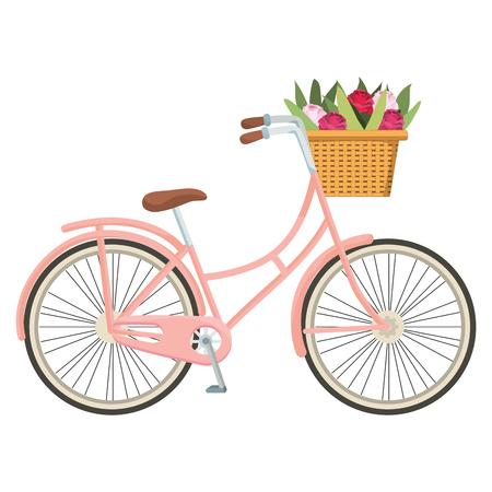 niedliches Fahrrad und Korb mit Blumenkarikaturvektorillustrationsgrafikdesign