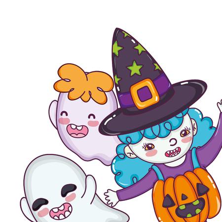 Halloween kids celebration with scary costume cartoon vector illustration graphic design