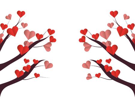 valentines day heart tree cartoon vector illustration graphic design Иллюстрация