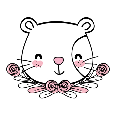 Cat drawing cartoon with wreath flowers vector illustration graphic design Stock Illustratie