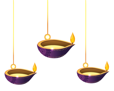 Lanterns oil candles hanging isolated vector illustration graphic design