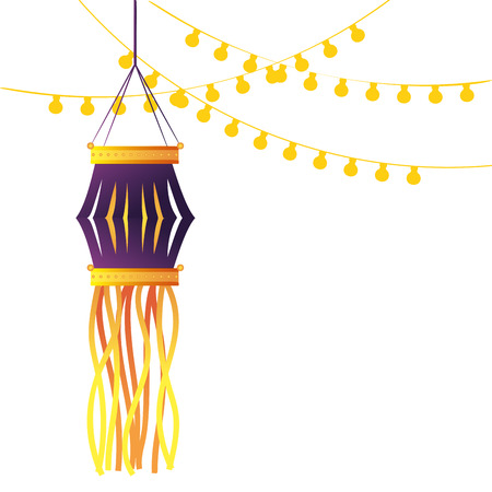 indian lanterns candles decoration isolated vector illustration graphic design Illusztráció