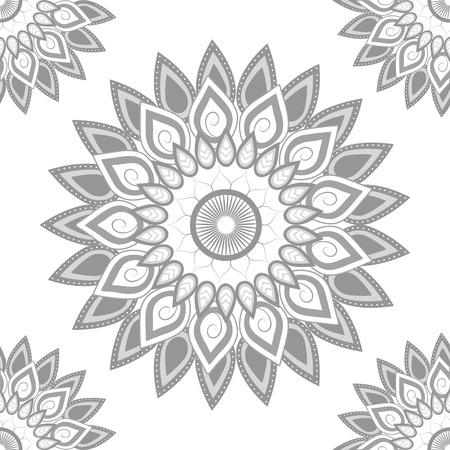 Mandala gray white background wallpaper vector illustration graphic design