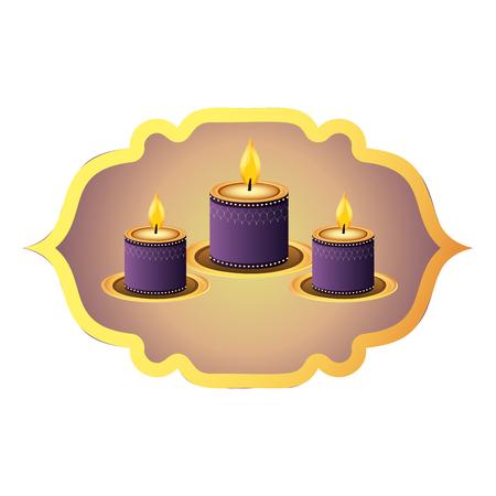indian candles decoration in label frame vector illustration graphic design