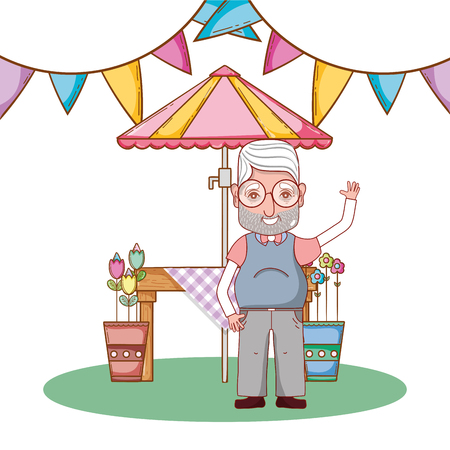 cute grandfather in country party cartoon vector illustration graphic design Illustration